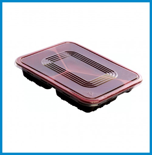 """Bento Boxes - 3 Compartment Bento Box with lid ( 9.5"""" x 7.5"""" x 1.5"""" ) - for 600 pcs/case"""