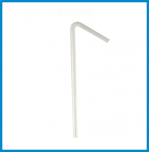Straw - White Bended w/o Wrapper - 100 pcs/pack