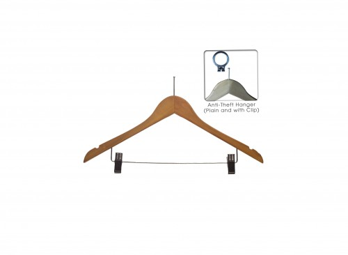 Wardrobe Accessories - Wooden Anti Theft Hanger with Clip