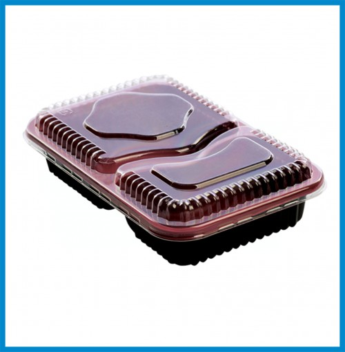 """Bento Boxes - 2 Compartment Bento Box with lid ( 9.5"""" x 5.75"""" x 2"""" ) - for 800 pcs/case"""