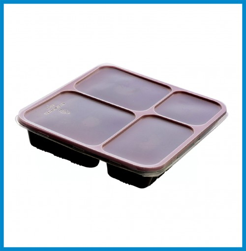 """Bento Boxes - 4 Compartment Bento Box with lid ( 9"""" x 8"""" x 1.63"""" ) - for 500 pcs/case"""