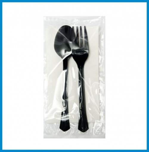 Cutlery Set 1-Spoon Black, 1-Fork Black, 1-Napkin 5 3/4, Toothpick Minted with Wrapper